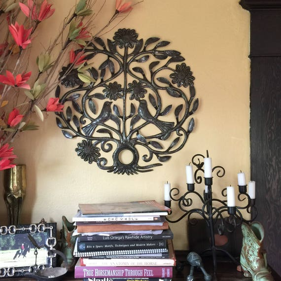 "Spring Lovebird Tree of Life Haitian Metal Garden Wall Art Made From an Oil Drum Lid (22.5"" X 22.5"")"