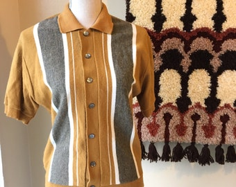 Mustard Yellow Cardigan Sweater striped 50's 60's wool look button down mens womens ribbed short sleeve medium furry thin rad festival sale