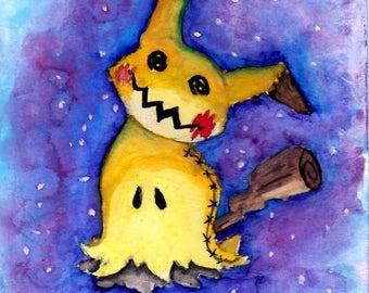 "Mimikkyu Watercolor - PRINT - 7""x5"" - 10""x8"""
