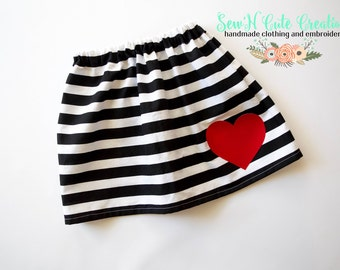 Love and Stripes Skirt- Love- Heart- Red- Stripes- Valentines- Red and Black