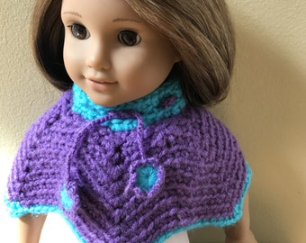 "Crochet Doll Poncho Handmade  18"" American Girl Doll - Purple and Blue - Item D13"