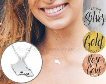 Oahu Necklace - Oahu shaped necklace, I heart Oahu, I heart Hawaii, Hawaiian island necklace
