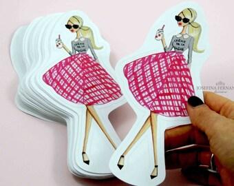 """Fashion illustration vinyl sticker """"Paris"""" by Josefina Fernandez, die cut fashion sketch vinyl sticker"""