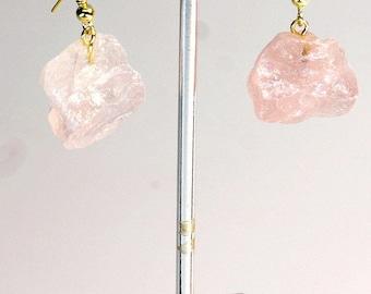 Rough Rose Quartz Earrings w/ Gold Plated Earwire (ER14BT)