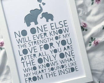 No one else will ever know my love for you, the only one who knows what my heart sounds like from the inside - framed paper cut - baby gift