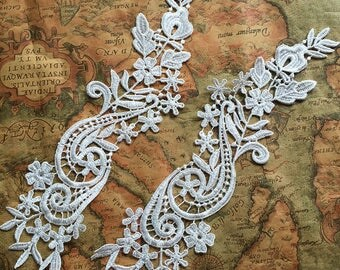 Lace Appliques Venice Lace Flower Collars Corsage Costome Decor Lace Patches 1 pair YL529