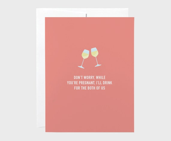 funny baby shower card wine baby shower card drink for two card