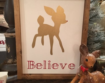 Wood Framed Believe Rudolph Sign