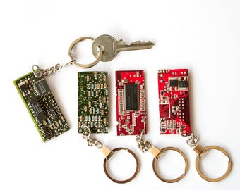 Green Keychain, Red Keychain, Red Circuitboard Keychain, Green Circuitboard Keyfob, Computer Keychain, Geek Keychain, Circuitboard Keyring