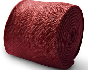 maroon burgundy 100% linen tie by Frederick Thomas FT3329 8cm