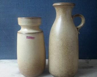 Set, Scheurich vases set, Scheurich Keramik, Scheurich collectible, west germany vases set, industrial decor, Christmas gift, beige vase, 70s