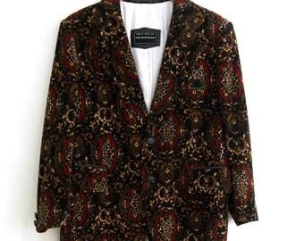 Men's Velvet Blazer - Saks Fifth Avenue Authentic Velvet Paisly Jacket, Blazer, Paisly Blazer, dress coat