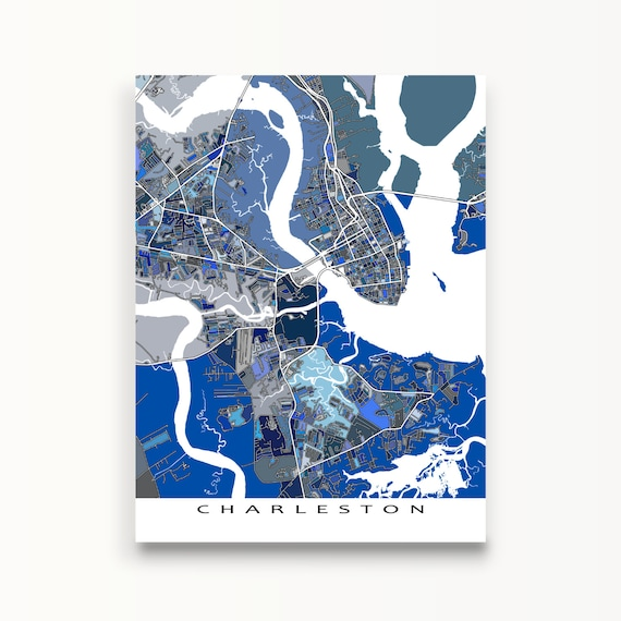 Charleston map charleston south carolina city map by mapsasart for T shirt printing charleston sc