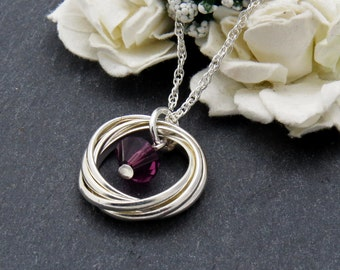 Sterling Silver 50th Birthday, Gift for Her, Amethyst Necklace for Women, February Birthstone Necklace, Solid Silver Interlocking Ring
