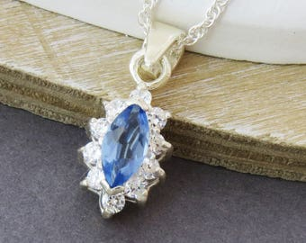 Sterling Silver Blue Topaz Necklace, Blue Crystal Pendant, Topaz Jewelry,  Gift for Women