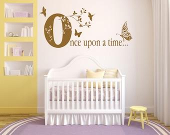 Once Upon A Time, Butterflies, Birds, Flowers, Princess, Fairytale, Girls, Childrens  Wall Art Vinyl Decal Sticker