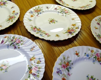 Vintage flower china plates-old bone china floral plates-6 old flower plates set-Minton Marlow England lunch plates- salad desert plates lot