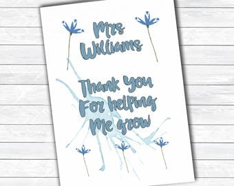 Teacher thank you card, personalised greetings card