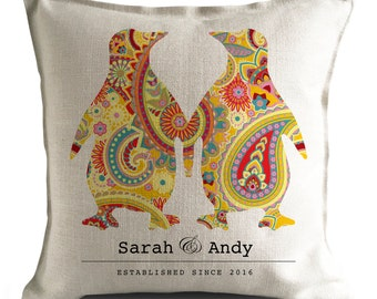 Personalised Wedding Cushion Cover - Paisley penguins - Anniversary Gift - Wedding Decor - Mr and Mrs bride and groom - 16 inch 40cm