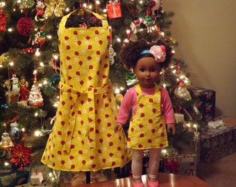 "18"" Doll & Me Apron Set, Ladybugs"
