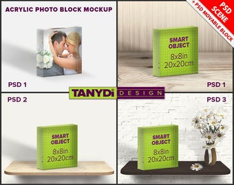 Acrylic Photo Block 8x8 PSD Styled Mockup | Blank Square Photo Block on Wood shelf
