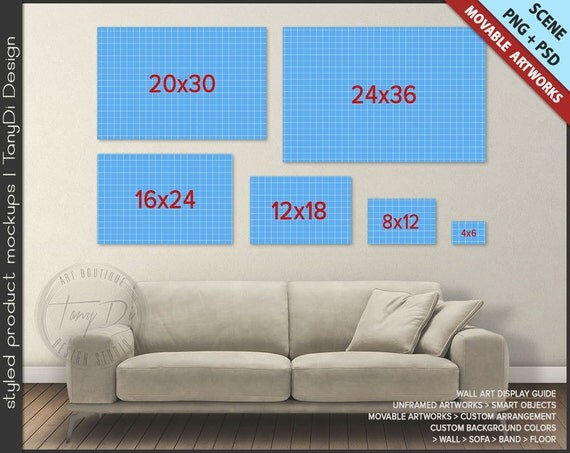 Wall Display Guide PSD Mockup | Living room Sofa Interior | Movable Landscape Unframed Prints WDG5-L