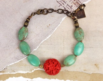 Flower bracelet. Turquoise and red bracelet. Floral jewelry. Cinnabar jewelry. Turquoise stone bracelet. Unique gifts for her. Boho bracelet