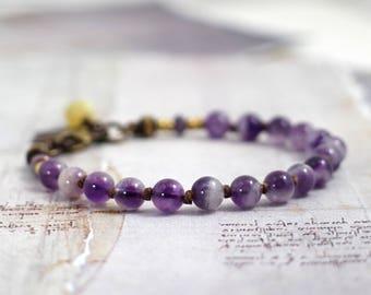 Amethyst bracelet February birthstone jewelry Purple stone bracelet Amethyst jewelry Knotted bracelet Jewelry gifts for mom Purple jewelry