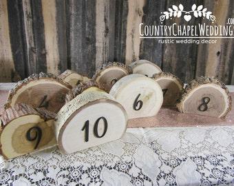 Rustic Wedding Table Numbers Set- Tree Slice Table Numbers ~ Summer Wedding ~ County Wedding Table Numbers