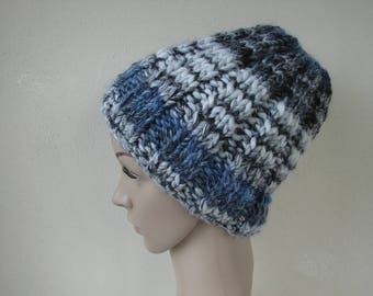 Hand knit hat gray blue adult medium warm comfortable winter hat knit in round thick and thin woolen acrylic yarn men women chunky knit hat