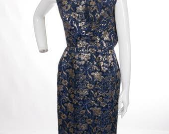 Vintage 1950s Gold Navy Brocade Boatneck Midi Wiggle Dress