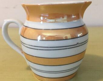 Czechoslovakia Lusterware,Small Striped Ceramic Creamer, Mod,  Czechoslovakia Creamers, Czech Lusterware