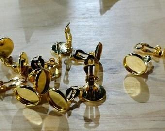 Gold tone 12mm tray clip on cabochon settings-8pcs