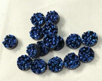 Dark blue berry purple 10mm faux druzy cluster Cabochons 10pcs
