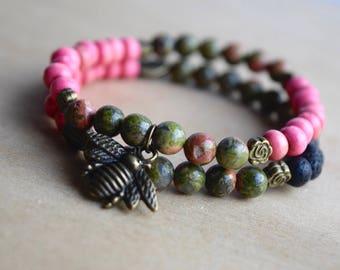 BEE INSIGHTFUL // Unakite Bracelet Set / Essential Oil Diffuser Bracelets / Save the Bees Charm / Meditation Bracelet / Yoga Bracelet