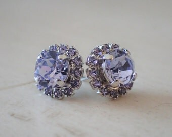 Provence Lavender and Tanzanite Crystal Halo Post Earrings, Silver