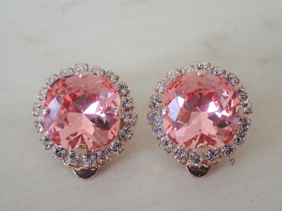Rose Peach & Clear Crystal Halo Clip On Earrings, Rose Gold