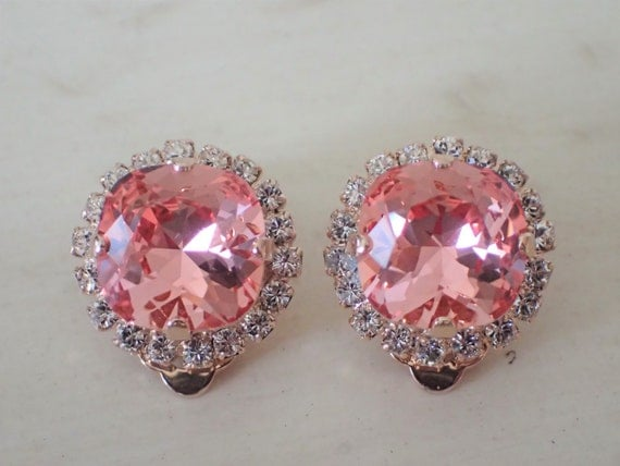 Rose Peach & Clear Swarovski Crystal Clip On Earrings, Rose Gold