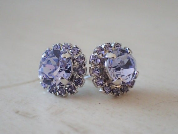 Provence Lavender and Tanzanite Swarovski Crystal Earrings, Silver