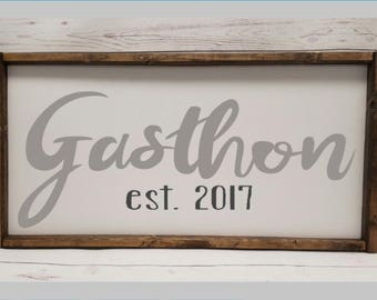 Last Name Farmhouse style sign, established date, anniversary, tribal master bedroom, wedding bridal shower, framed sign, fixer upper, arrow