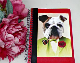 Blank Notebook Bull Dog Journal Altered Art Book Pin Original Art Cover Diary Anthropomorphic Person Animal Head Notepad Artwork