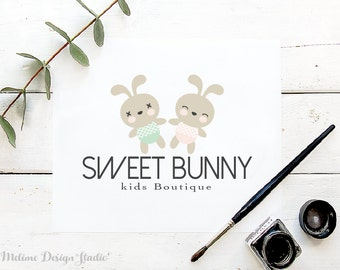 Kid Boutique Logo Design, Pre-made Logo Design, Sweet Bunny Logo for your Business, Baby Logo Design (7-LOGO)
