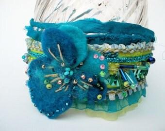 Fabric bracelet felted flower textile bracelet blue turquiose sequins indian ribbon cuff hippie bracelet textile jewelry mokuba floral tape