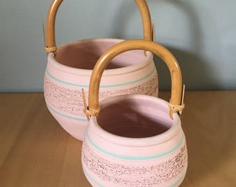 Lovely matching pair of studio made pottery baskets pale pink / aqua with bamboo handle for succulents in Boho or tropical Old Florida home!