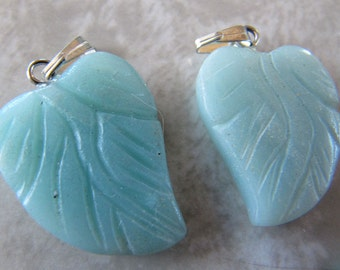Carved Gemstone Pendants - Lot of 5 - Amazonite Mint Green Leaves, leaf shape necklace, stone jewelry, charm, or focal bead - LOT A