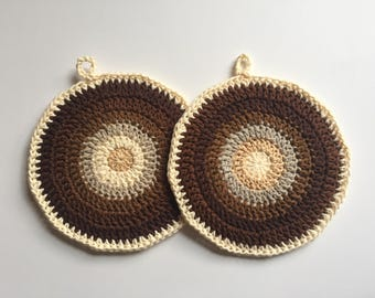 Set of 2 • Coffee and Cream, Brown and Cream Handmade Crochet Potholders