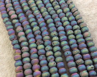 """6mm Matte Finish Premium Rainbow Titanium Druzy Agate Rondelle Shaped Beads with 1mm Holes - Sold by 7.75"""" Strands (Approx. 45 Beads)"""
