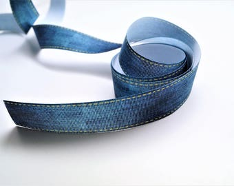 1 meter ribbon coarse grain Denim Jean, 25 mm