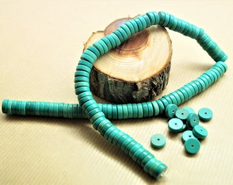 Set of 20 pearls, turquoise stabilized, green, cup heishi washer, 10x3 mm