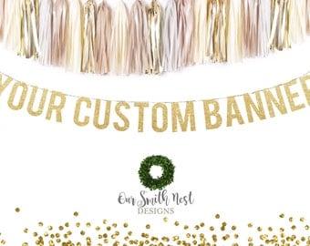 Custom Gold Glitter Garland | Adult Birthday | Hashtag Banner | Wedding Banner | Wedding Hashtag Banner | Bridal Shower Banner | Party Decor